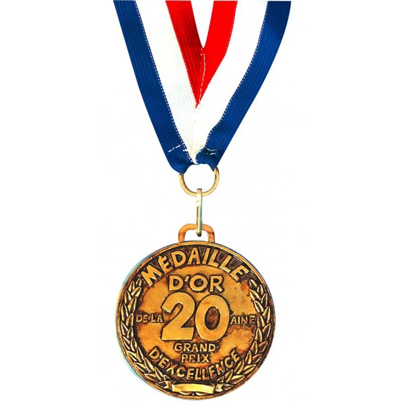 Médaille dorée pour anniversaire 20 ans