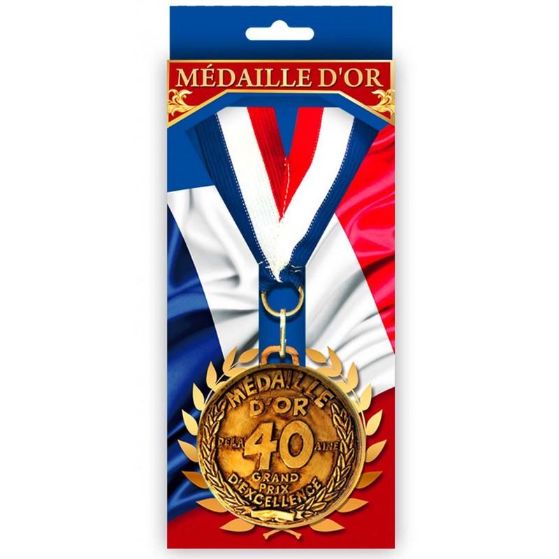 Médaille tricolore dorée 40 ans pour anniversaire