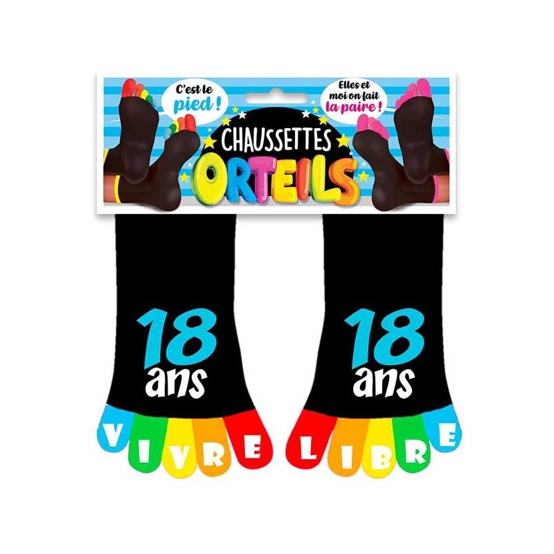 Chaussettes 18 ans anniversaire avec orteils