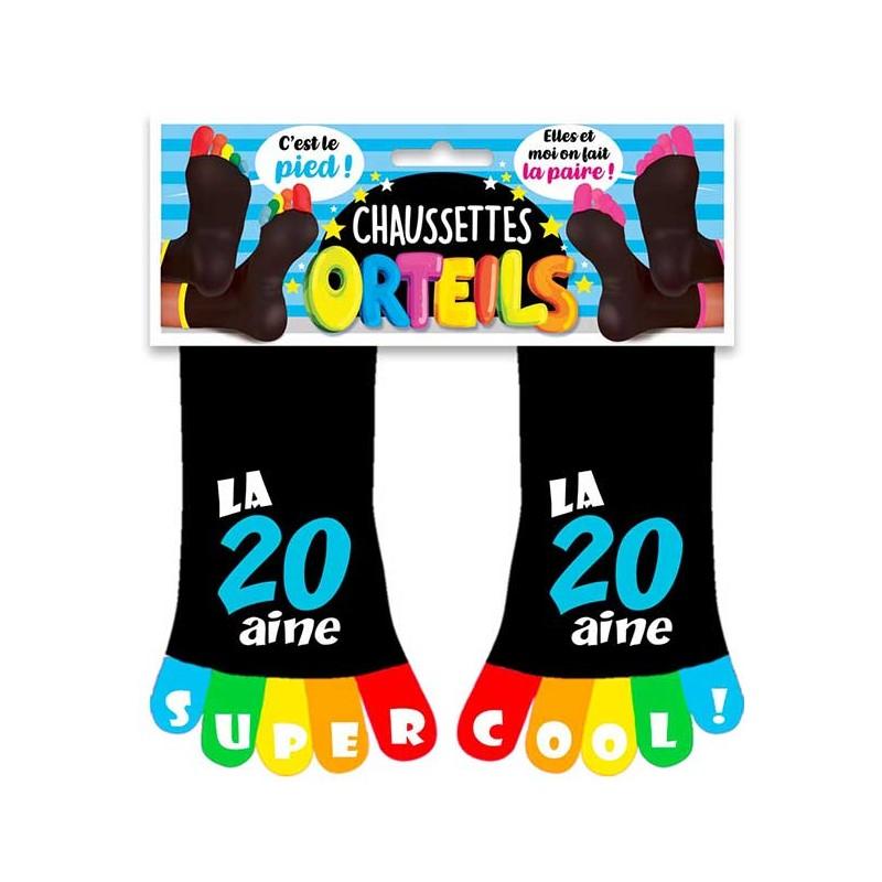Chaussettes colorées 20 ans pour homme avec orteils