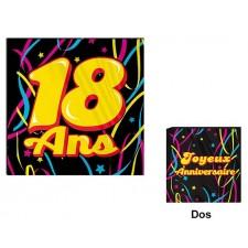 Serviettes pour anniversaire 18 ans colorées