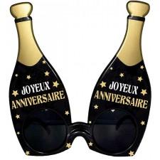 Lunettes joyeux anniversaire en forme de bouteilles dorées