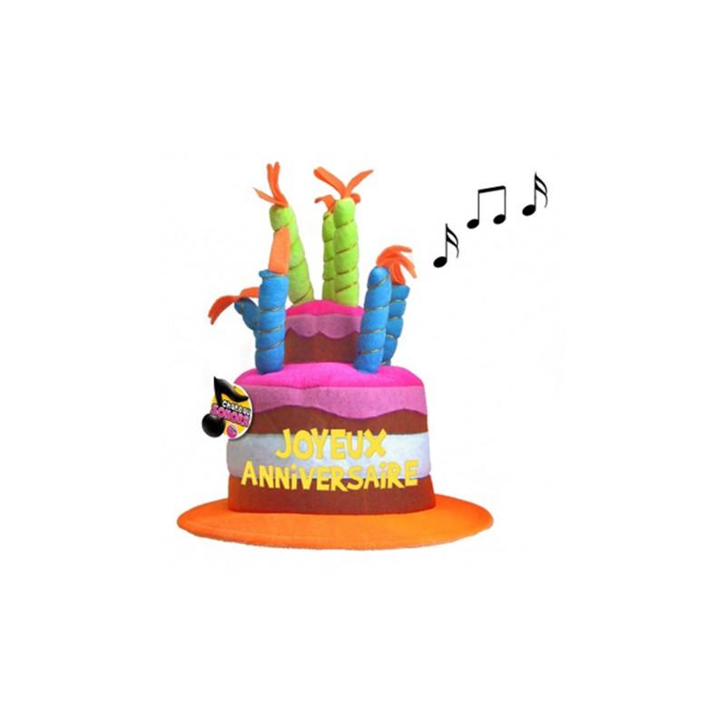 Chapeau d'anniversaire musical avec chanson joyeux anniversaire