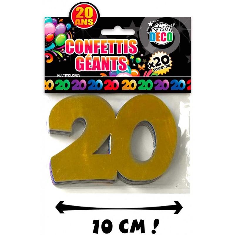 Confettis de table 20 ans en carton pour anniversaire