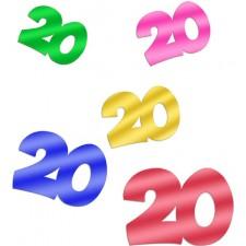 Confettis de table colorés pour table d'anniversaire 20 ans