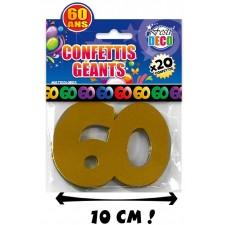 Confettis de table d'anniversaire 60 ans géants très colorés