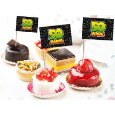 Pics décoratifs pour gâteau d'anniversaire spécial 50 ans