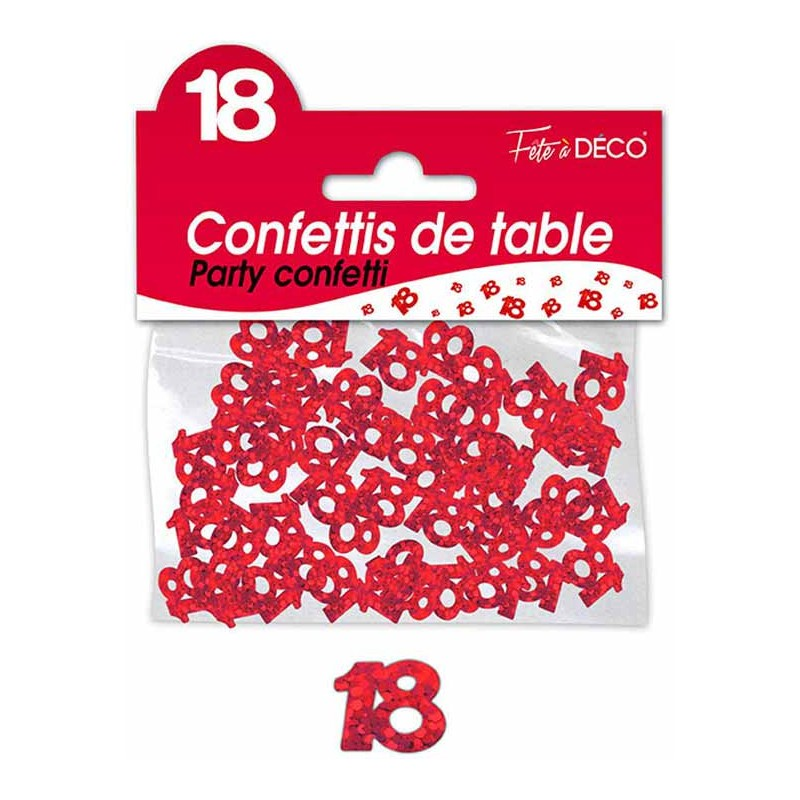 Confettis de table 18 ans anniversaire rouge