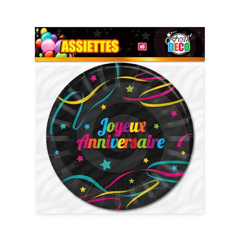 Assiettes joyeux anniversaire colorées en carton