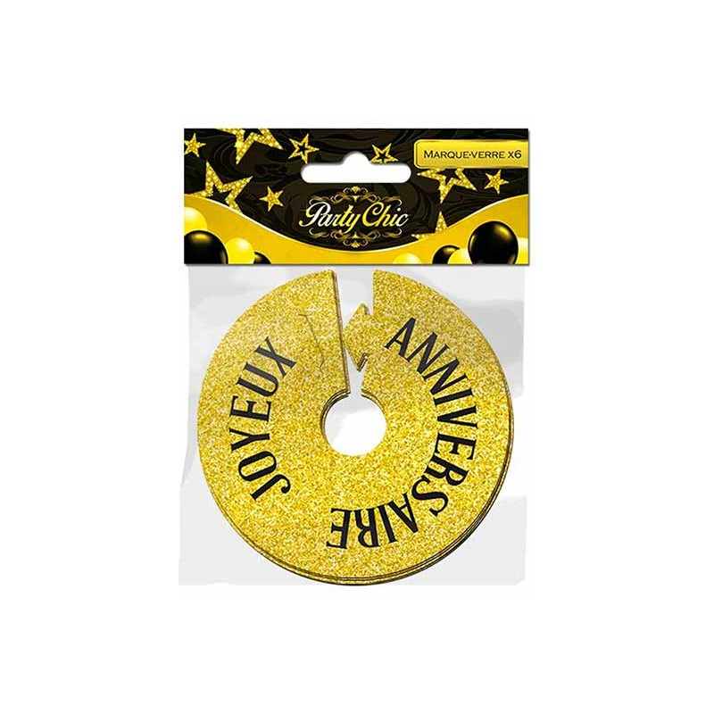 Marque-verres dorés en carton joyeux anniversaire