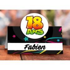 Marque-place pour anniversaire 18 ans en carton