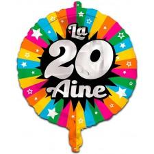 Ballon d'anniversaire 20 ans coloré gonflable à l'air et à l'hélium