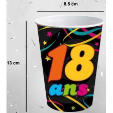 Gobelets en carton géants pour anniversaire 18 ans
