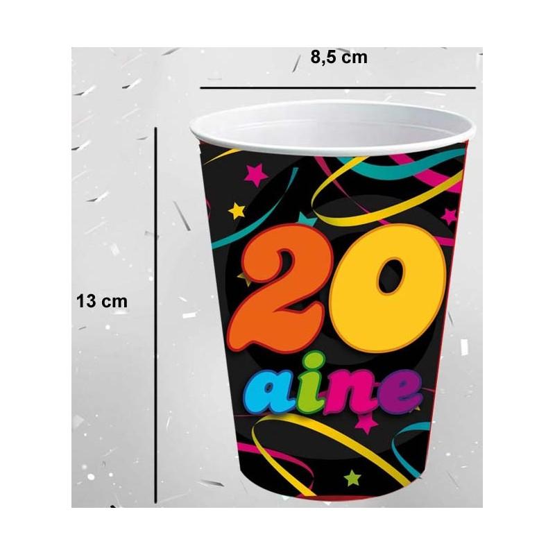 Gobelets géants 20 ans d'anniversaire en carton avec une contenance de 50 cl