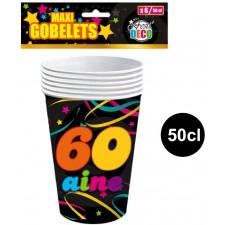Gobelets d'anniversaire 50 cl pour anniversaire 60 ans