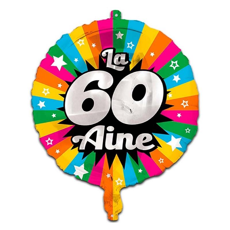 Ballon anniversaire 60 ans gonflable à l'hélium