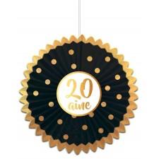 Décoration d'anniversaire 20 ans noir et or à suspendre