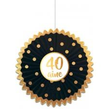 Suspension 40 ans pour anniversaire thème noir et or