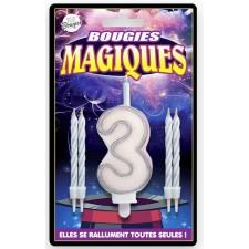 Bougie anniversaire chiffre 3 magique