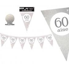 Guirlande décorative pour anniversaire 60 ans couleur argent