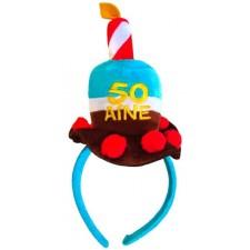Serre-tête humoristique en forme de gâteau pour anniversaire 50 ans