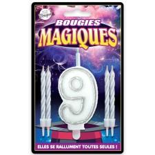 Bougie magique en forme de chiffre 9 qui ne s'éteint pas pour fête d'anniversaire
