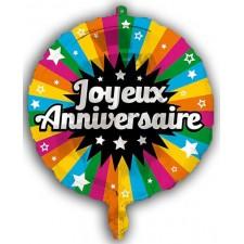 Ballon Joyeux anniversaire alu gonflable à l'hélium
