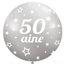 Ballon d'anniversaire 50 ans géant couleur argent