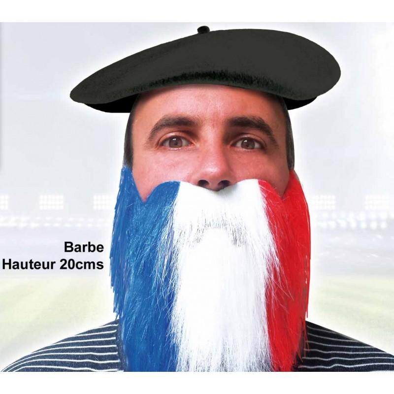 Barbe tricolore aux couleurs de la France pour supporter
