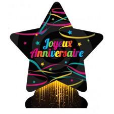 Centre de table Joyeux anniversaire coloré en forme d'étoile pour décoration