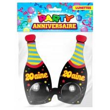 Lunettes anniversaire en forme de bouteilles de champagne pour les 20 ans