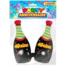 Lunettes pour anniversaire 40 ans en forme de bouteilles