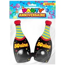Lunettes humoristique 50 ans anniversaire en forme de bouteilles