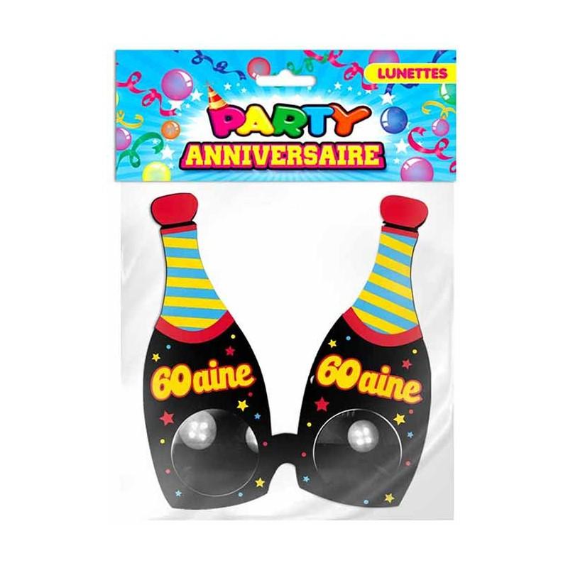 Lunettes en forme de bouteilles pour anniversaire 60 ans
