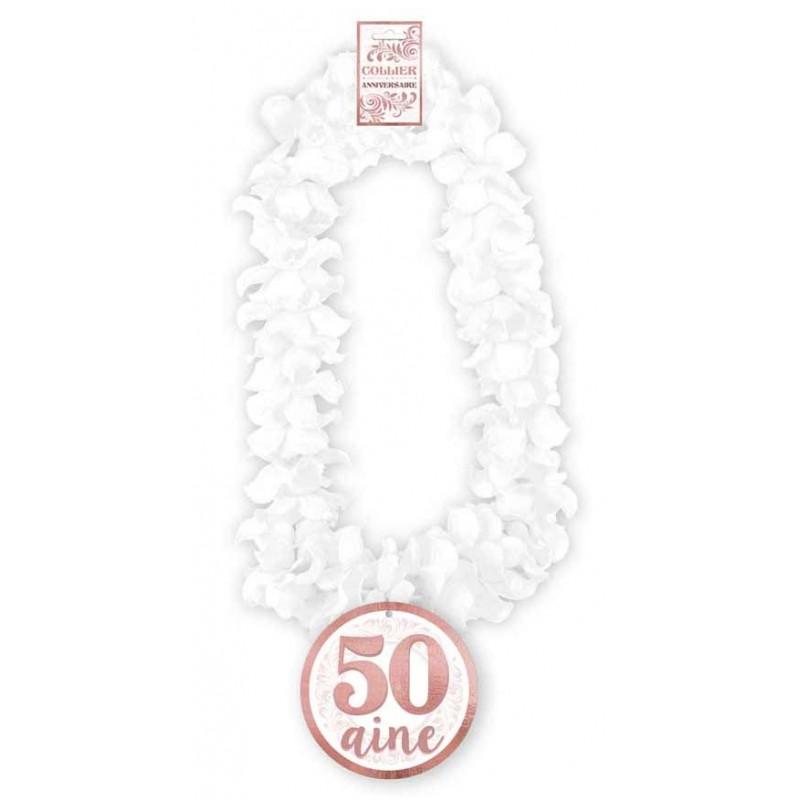 Accessoire collier blanc et rose gold pour anniversaire 50 ans