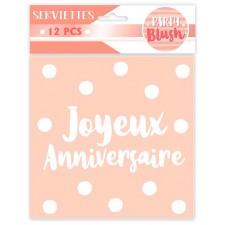 Serviettes en papier rose pastel pour anniversaire