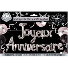Guirlande ballons couleur argent Joyeux anniversaire