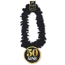 Collier 50 ans pour anniversaire thème noir et or