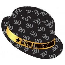 Chapeau pour anniversaire 20 ans noir et doré