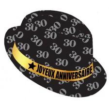Chapeau 30 ans original pour anniversaire couleur noir et or