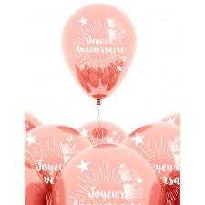 Ballons joyeux anniversaire rose gold en latex