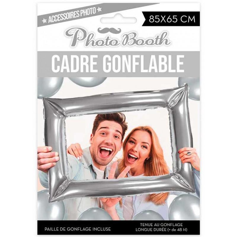 Cadre à gonfler pour photobooth d'anniversaire argent