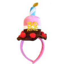 Serre-tête rose en forme de gâteau pour anniversaire 30 ans