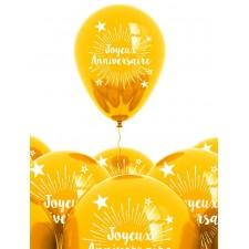 Ballons joyeux anniversaire dorés