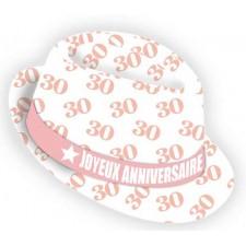Chapeau 30 ans spécial anniversaire femme rose et blanc