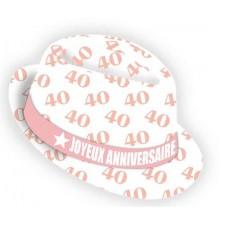 Chapeau 40 ans femme borsalino rose et blanc pour fête d'anniversaire