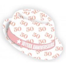 Chapeau cadeau pour anniversaire 50 ans rose et blanc