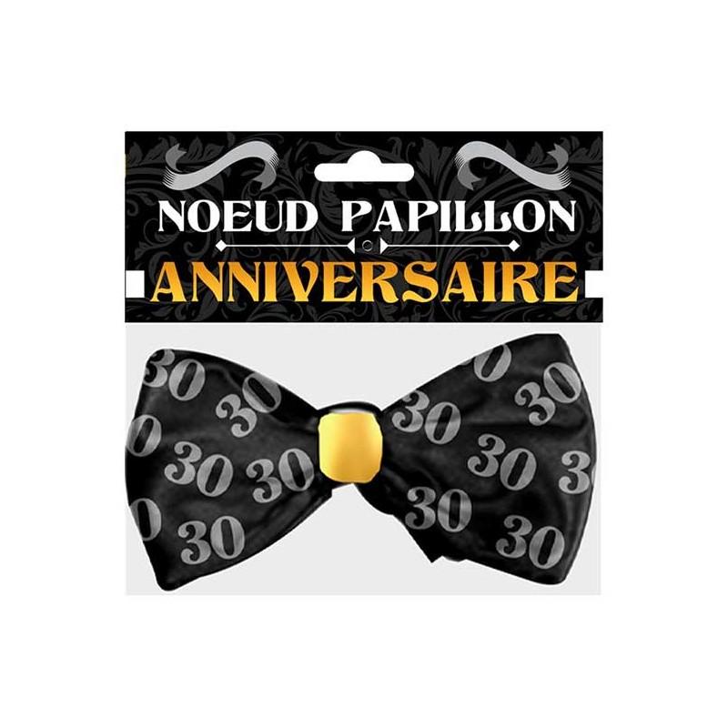 Nœud papillon pour anniversaire 30 ans accessoire chic noir et or