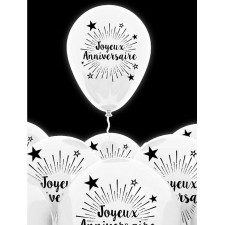 Ballons blancs pour anniversaire à gonfler à l'hélium ou à l'air