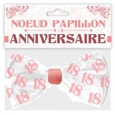 Accessoire pour anniversaire 18 ans nœud papillon rose et blanc